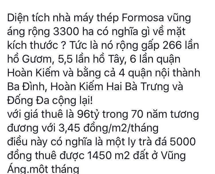 Vài con số về FORMOSA :( Nguồn : Lưu Nguyễn  #hoibamlike #formosa