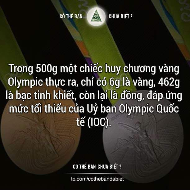 Tính ra 1 chiếc HCV Olympic Rio 2016 nếu bán với giá kim loại thông thường chỉ được khoảng hơn...