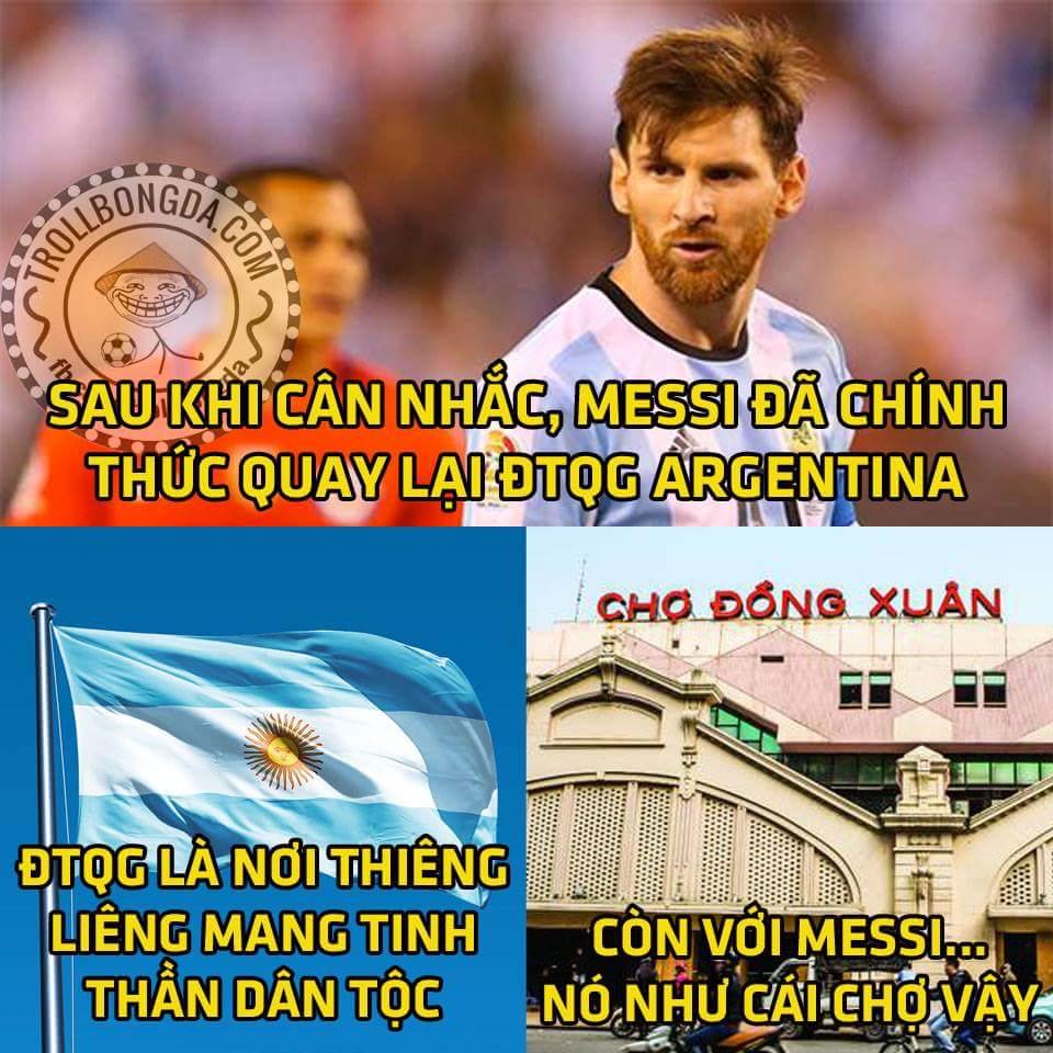 Vậy là Messi đã quay lại ĐT Argentina rồi ae ạ...Cái cửa là để đi ra đi vào,đội tuyển là để đi...