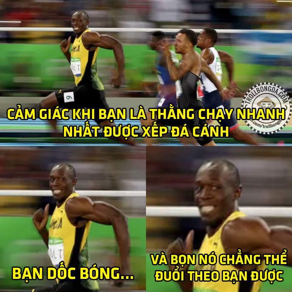 Anh Bolt lại vừa giành HCV thứ 3 liên tiếp ở 3 kỳ Olympic nội dung 100m các bạn ạ, vừa về đích...