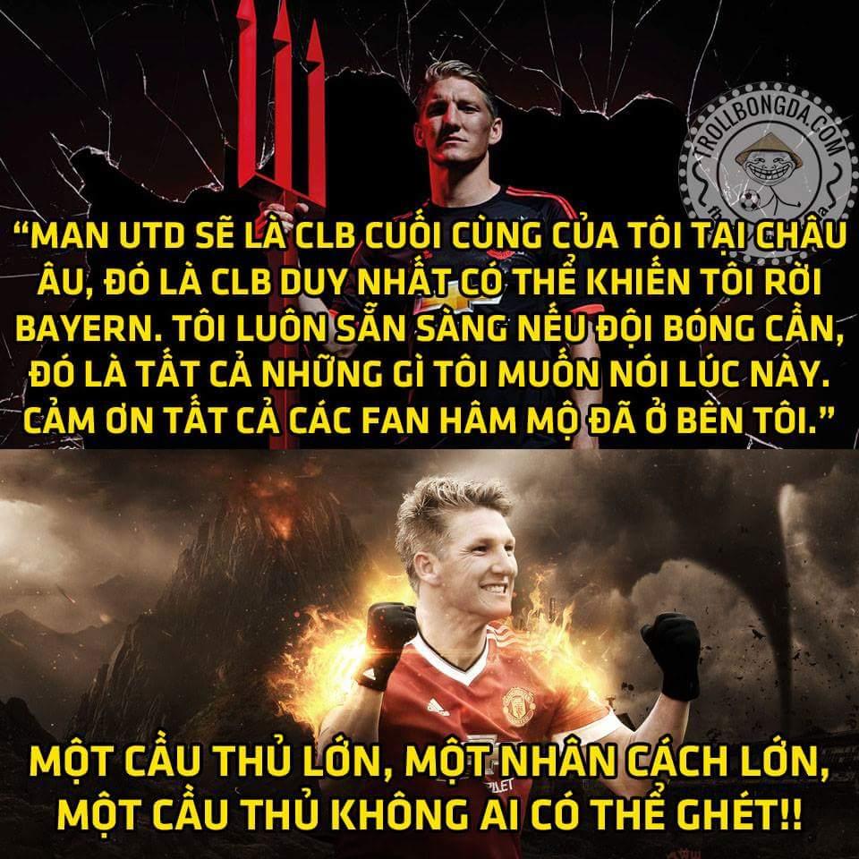 Phát ngôn mới nhất của #Schweinsteiger trên trang cá nhân. #Respect một nhân cách...