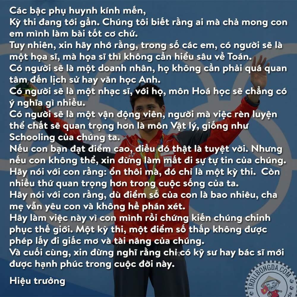 Bức thư một từ một Hiệu trưởng tại Singapore gửi các bậc phụ huynh. Hiệu trưởng tuyệt vời nhất...