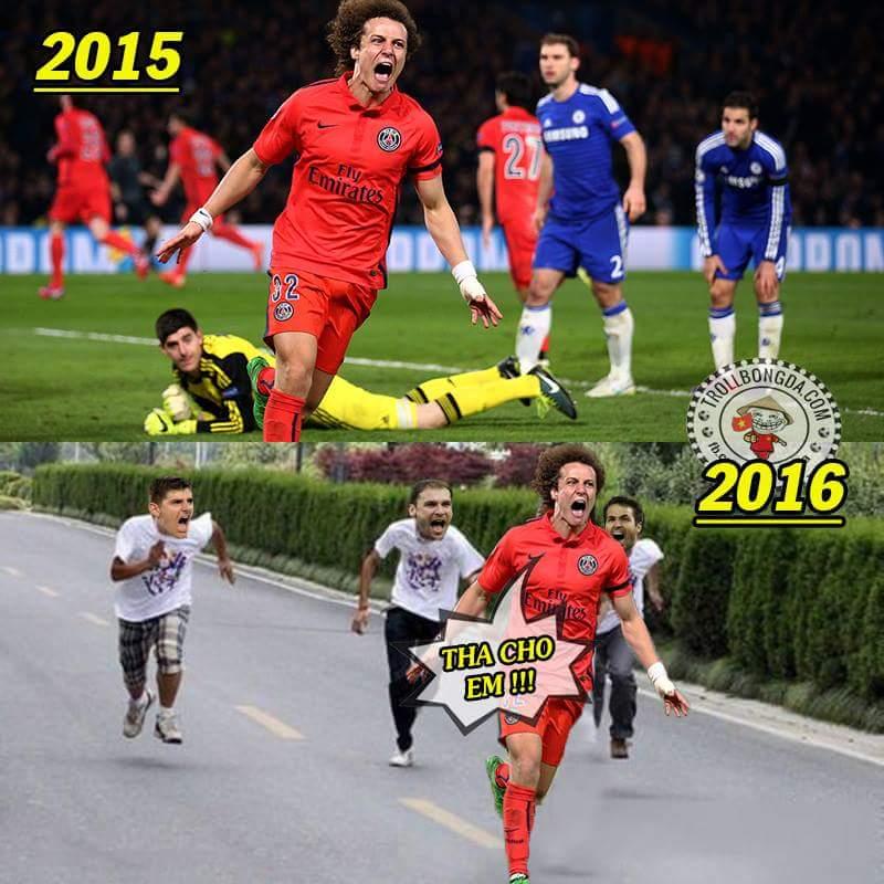 Một lần trót dại. Mong rằng David Luiz sẽ an toàn khi bước vào phòng thay đồ. :( ...