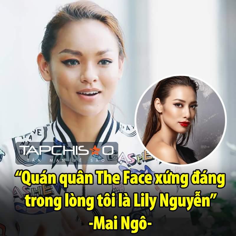 Với Mai Ngô thì quán quân là Lily Nguyễn. <3  Tạp Chí
