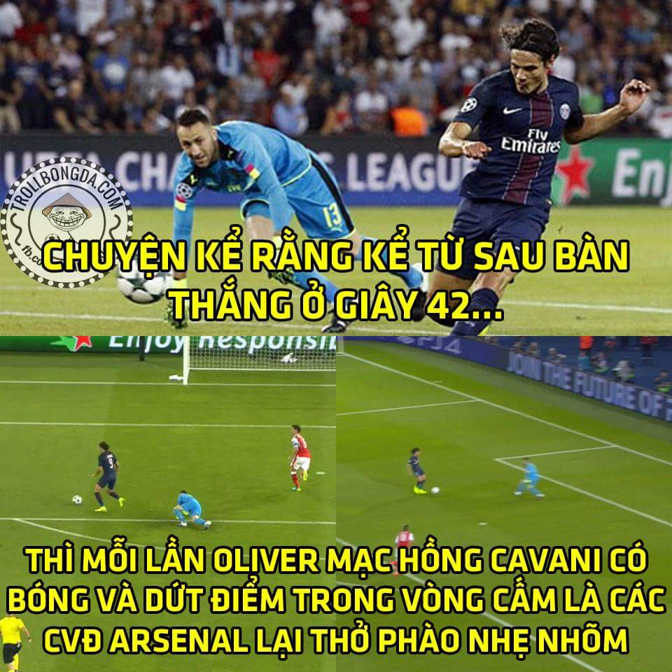 Cầu thủ xuất sắc nhất của Arsenal trận này chính là Cavani chứ không phải ai khác...