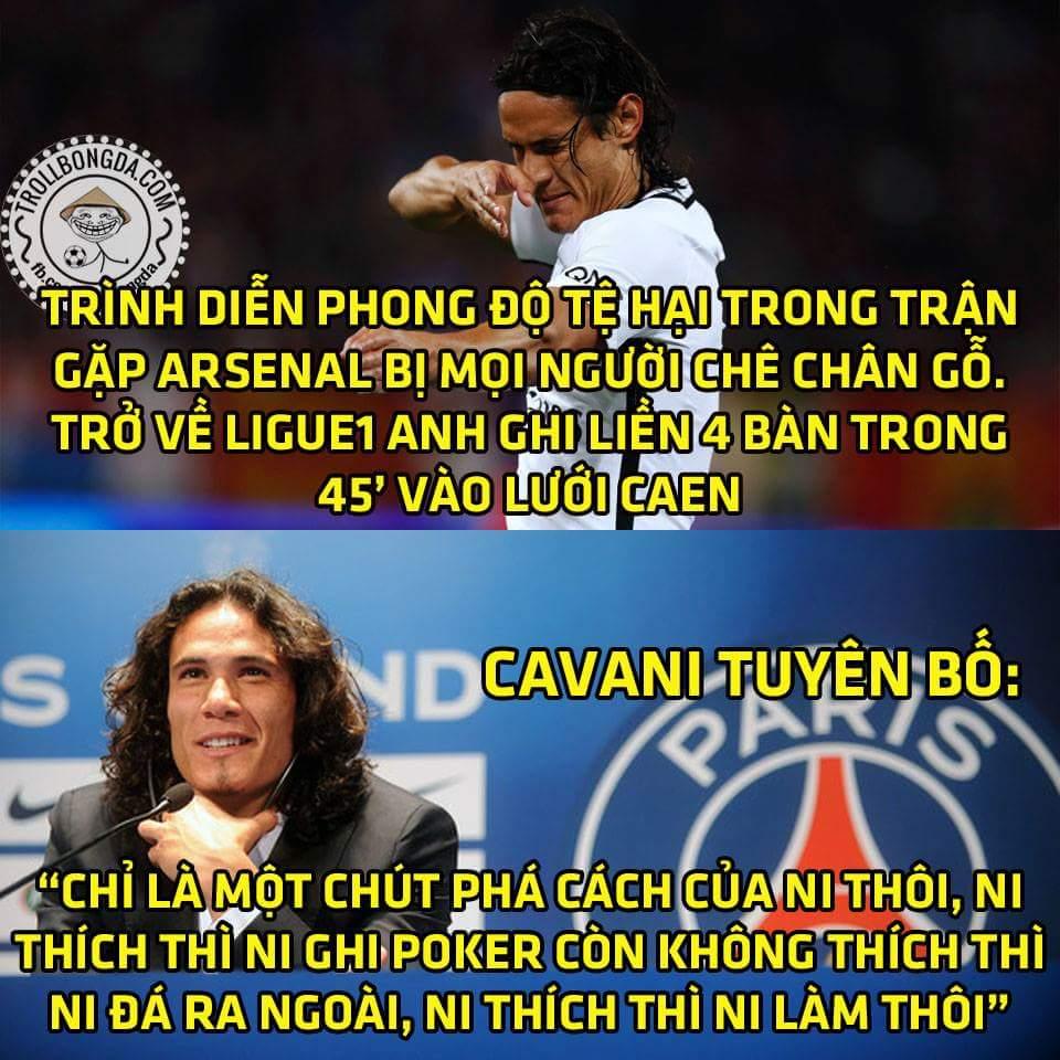 Thánh Cavani chắc đá tệ với Arsenal để Caen chủ quan đây mà