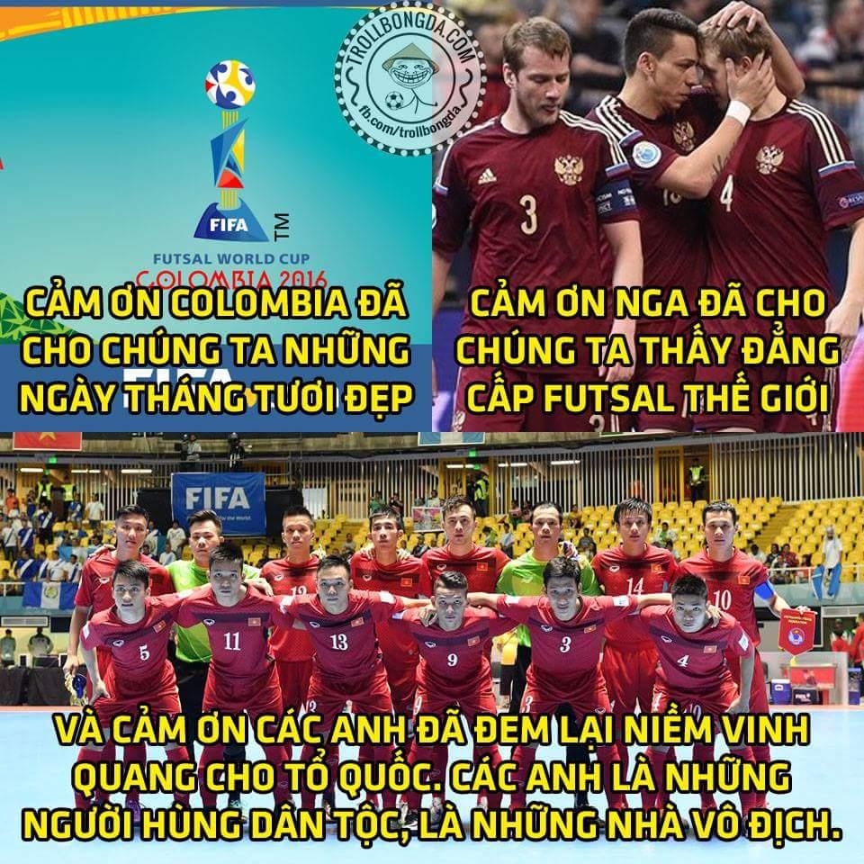 Hết giờ: Nga 7-0 Việt Nam. Thua đạm nhưng không buồn bởi xét cho cùng chúng ta vẫn chiến thắng...
