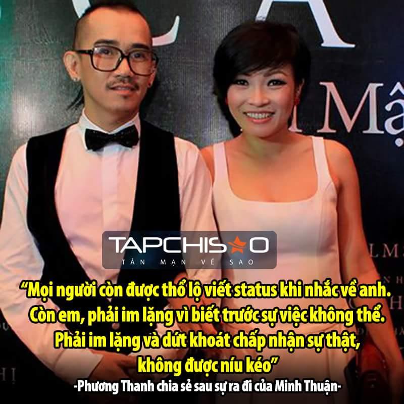 Phương Thanh là một trong những người buồn nhất trước sự ra đi của MInh Thuận. <3  Tạp Chí...