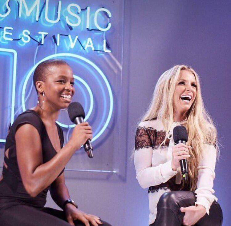 Britney being interviewed before her performance at the #AppleMusicFestival.