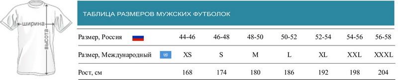 Размер футболок мужских таблица