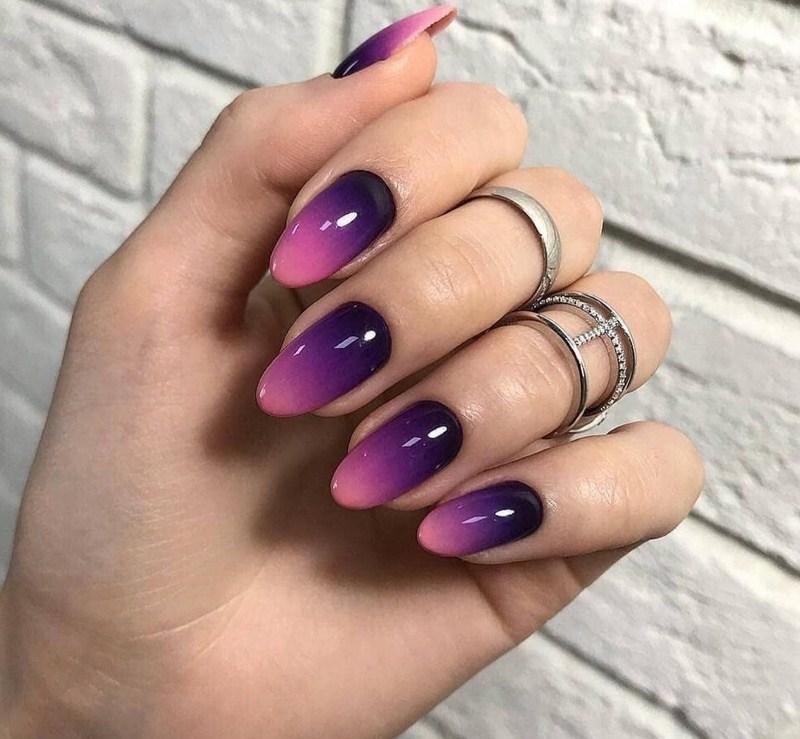Омбре ногти острые