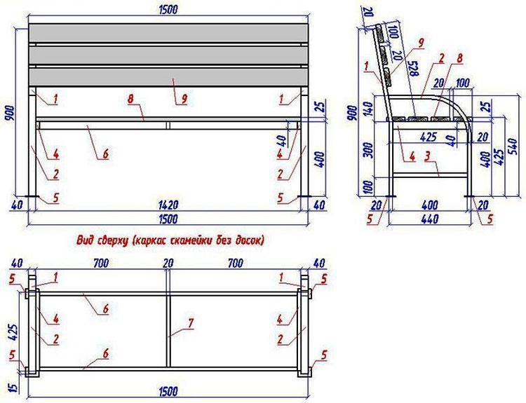 Чертеж скамейки из металлопроката и доски