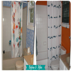 Bathroom Makeover  Great 3-Part Bathroom makeover from Bonnie over at OurSecondhandHouse.com. Visit www.GreyDock.com for more great products!