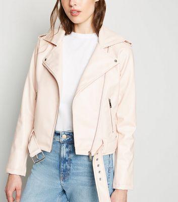 Pale pink leather biker jacket