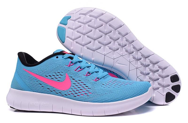 Nike free run womens pink and blue