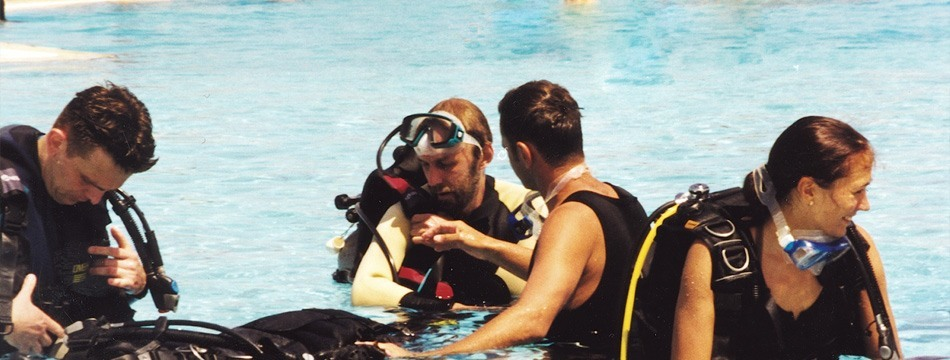 Professionals on Training for becoming Scuba Diving PADI certified divers in Paphos