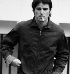 Josh Hartnett smoking a cigarette (or weed)