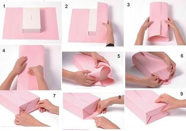Как упаковать коробочку в подарочную бумагу