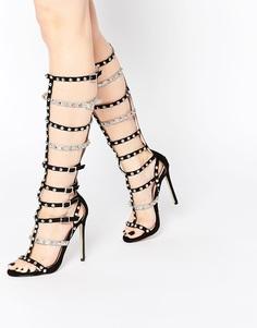 Высокие кожаные сандалии-гладиаторы ASOS FLYWAY - Черный