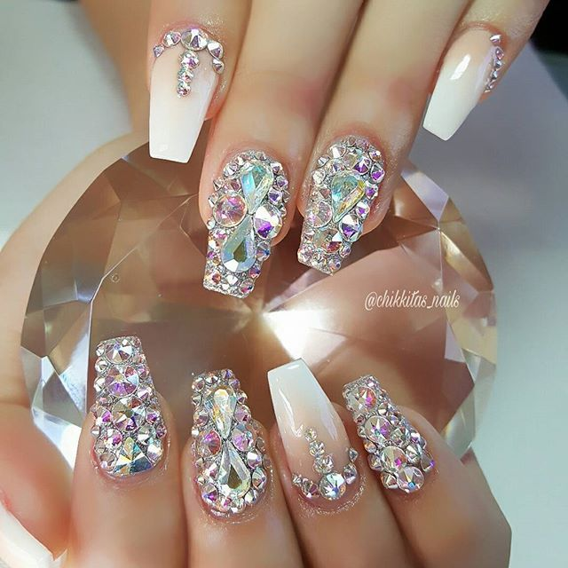 Glitter and gem nails