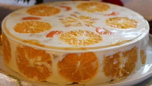 Торт из сметаны фруктов и желатина