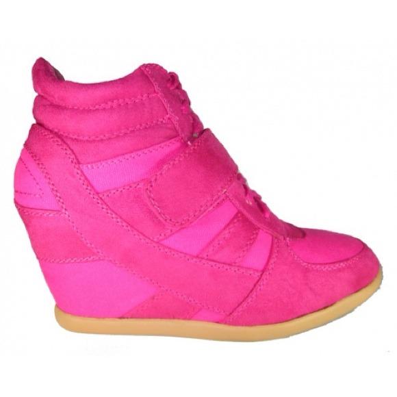 Hot pink sneaker wedges