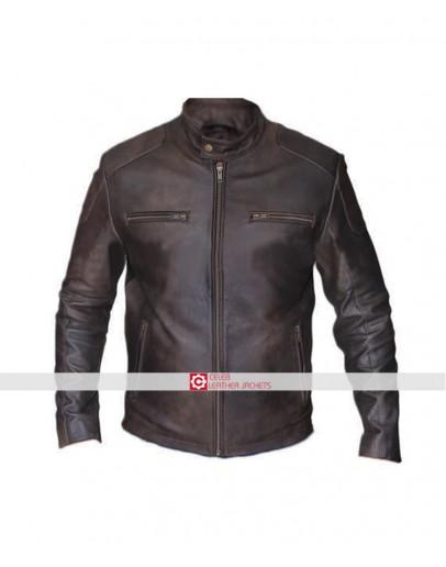 Chris evans brown leather jacket