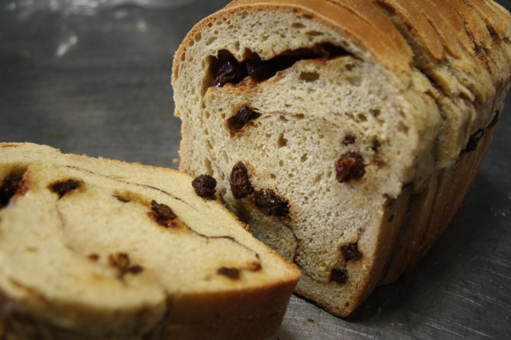 Cinnamon-raisin swirl slicing bread
