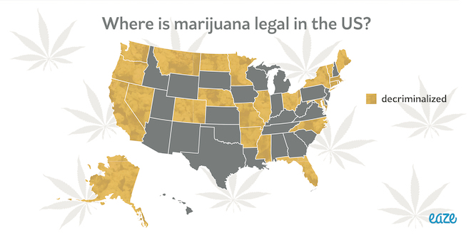 map of where marijuana is decriminalized in the us 2017