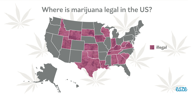 Infographic Where Is Marijuana Legal In The US Eaze Blog - Us map of legal weed 2017