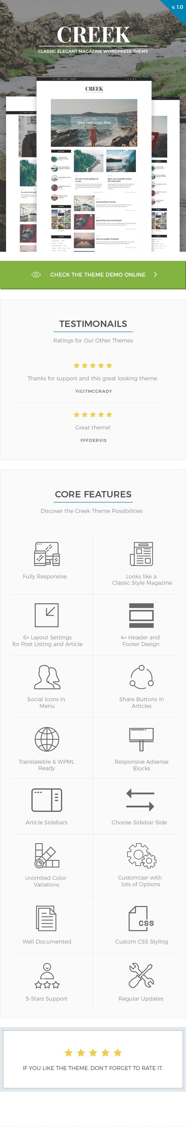 Creek - Classic Elegant Magazine WordPress Theme - 1