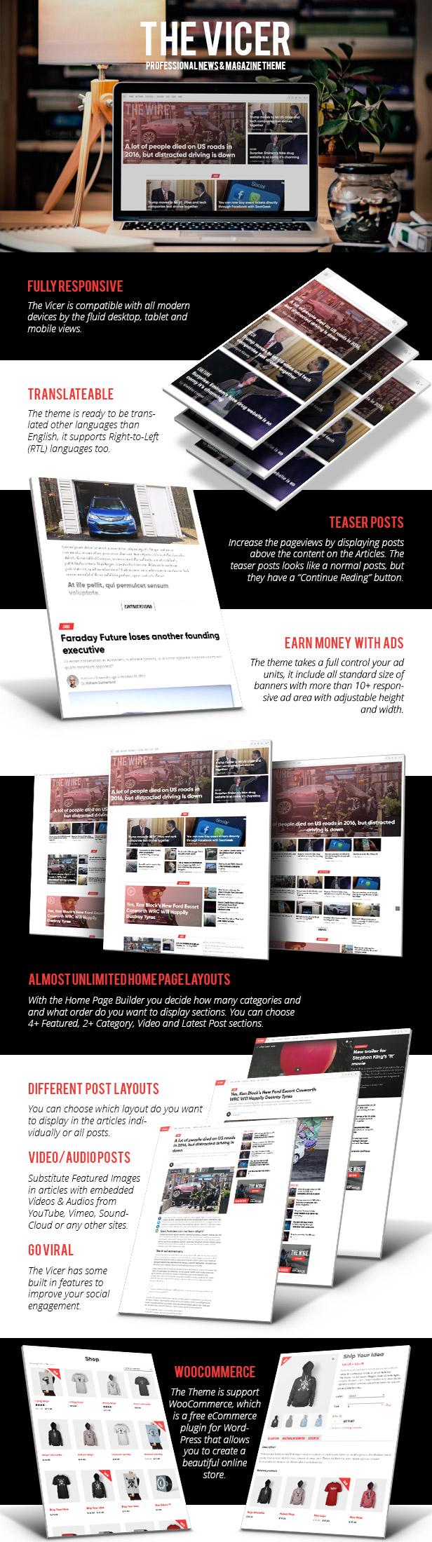 the vicer - professional news & magazine wordpress theme (news / editorial) The Vicer – Professional News & Magazine WordPress Theme (News / Editorial) desc