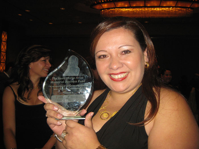 """""""Anna Maria Arias Business Funds Award"""" for being one of the most notable Hispanic entrepreneurs in the United States by Latina Style Magazine."""