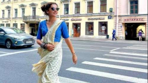 Taapsee Pannu slays in saree & sneakers on the streets of Russia