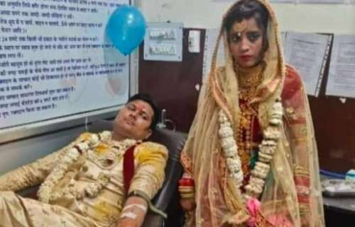Bride & groom donate blood