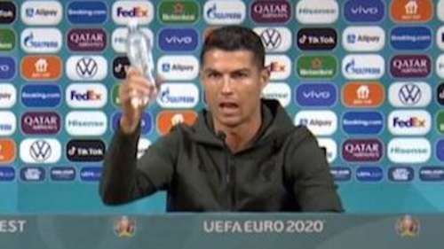 Drink Water! Ronaldo replaces sponsored drinks with water