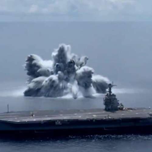 Aircraft Carrier Shock Trial: अमेरिकी नेवी ने किया युद्धपोत पर बड़े धमाके का ट्रायल, समुद्र में आया भूकंप