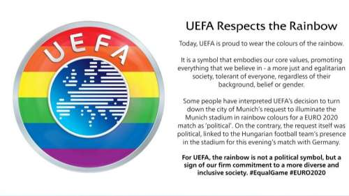 'We respect the rainbow': UEFA adds same colours to logo