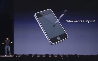 2007 Steve Jobs mocking the stylus