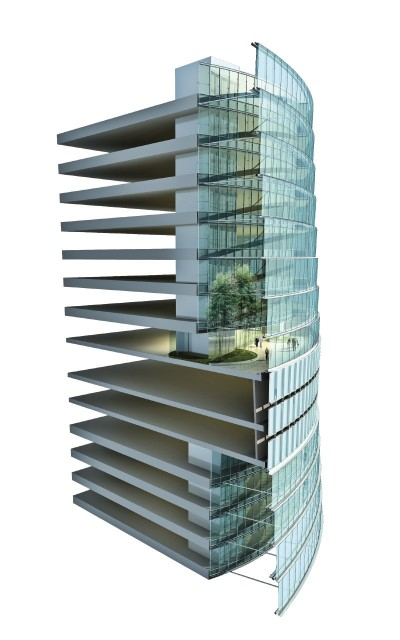 A cross-section of the Shanghai Tower. (Image courtesy of Gensler.)