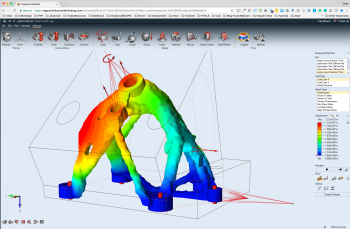 Topology optimization gives engineers a starting point based on the best possible shape for a part, based on load paths and packaging space. With 3D printing, many of these parts are now feasible to manufacture. Inspire Unlimited topology optimization (Image courtesy of solidThinking.)