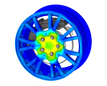ANSYS 18 simulates the contours of stress on a wheel. (Image courtesy of ANSYS.)