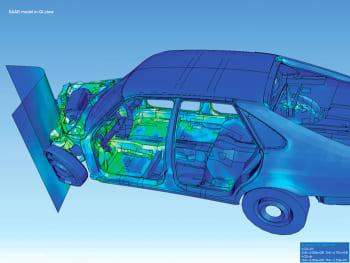 Finite element analysis simulates an asymmetriccar crash. (Image courtesy of Wikipedia.)