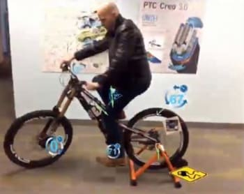 Digital twin of a bike can assess the product's performance using data collected by the IoT and overlay it onto an augmented reality display. (Image courtesy of PTC.)