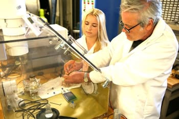 Purdue University graduate student Katherine Fowee and postdoctoral research associate Anthony Cofer work on a new micropropulsion system for miniature satellites called CubeSats. (Image courtesy of Purdue University photo/Erin Easterling.)