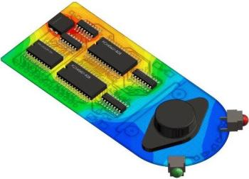 Thermal simulation of a printed circuit board (PCB) using Mentor FloTHERM. (Image courtesy of Mentor Graphics.)