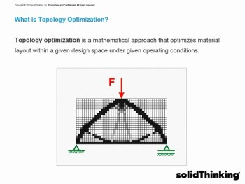 Topology optimization is an additive design approach to produce models to fit the operation conditions. Image courtesy of solidThinking.