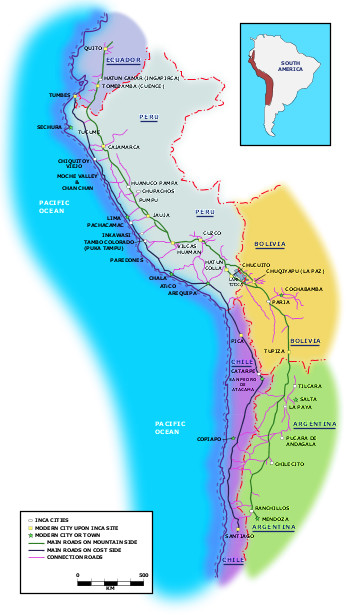 Qhapag Ñan (the Road of the Lord), runs across the South-American coastline from Ecuador to Chile, the entire system covers 40,000 km (25,000 mi).
