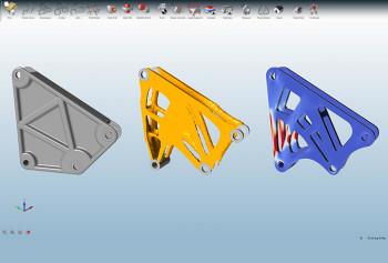 Screenshot of a topology optimization using solidThinking Inspire. (Image courtesy of Altair's solidThinking.)
