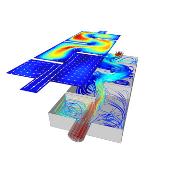 Simulation of a 19.7-ft (6-m) ozone reactor calculated in COMSOL Multiphysics. Proper assessment of the turbulence allows for estimations of the residence times of each chemical species. (Image courtesy of COMSOL.)